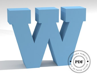 Printable DIY template (PDF).  Letter W low poly paper model template. 3D paper lettering. Origami. Papercraft. Cardboard alphabet.