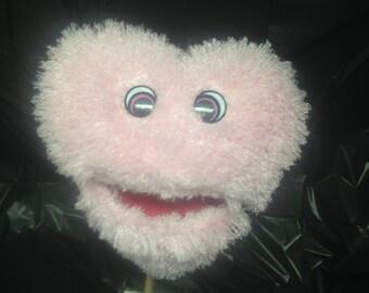 Large Soft Fluffy Pink Plush Heart Puppet