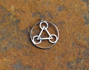 Mysterious Crop circle pattern hand cut coin, triangle, circles