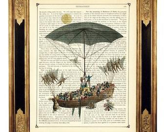Airship Poster Umbrella Ship Sail Boat Hot Air Balloon Steampunk - Vintage Victorian Book Page Art Print