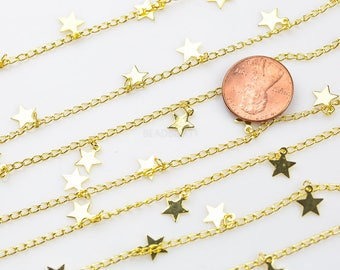 Star Drop Chain Gold Plated Brass. High Quality 18 Karat Gold Plating. By THE YARD
