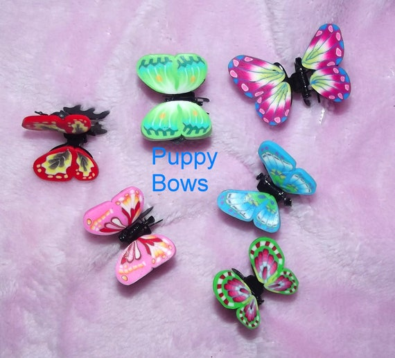 Puppy Bows ~Barrette tiny jaw clip BUTTERFLIES bow dog Shih Tzu FIVE COLORS ~Usa seller