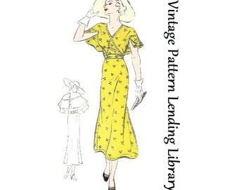 1935 Ladies Day Dress With Cape Sleeves - Reproduction Sewing Pattern #T0135