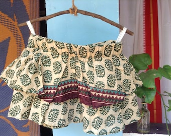 Ruffle Skirt • 100% Indian Cotton Beige/Green Print - 12-14yrs or Ladies XS