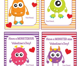 Monster Valentine * Valentine's For Kids * Kid's  Cards * Set of 4 * Printable Instant Download * Classroom Valentines