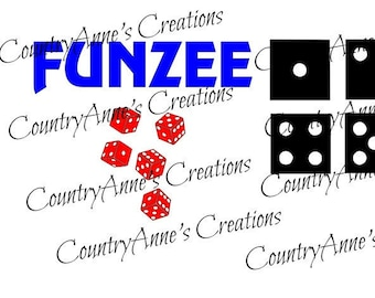 """SVG PNG DXF Eps Ai Wpc Cut file for Silhouette, Cricut, Pazzles - """"Funzee"""" yardzee lawn dice game"""" svg"""