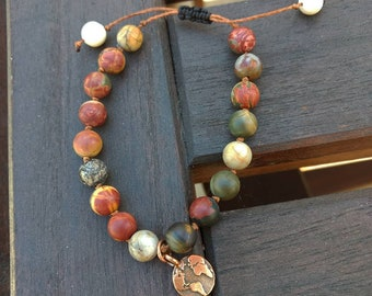 Picasso Jasper Hand Beaded Bracelet with Copper Earth Charm