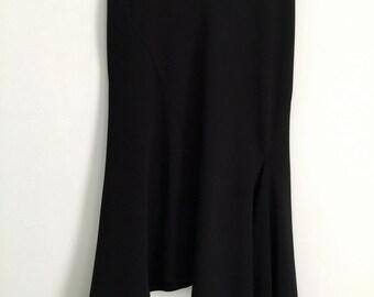 Black vintage nineties fishtail skirt