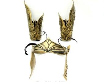 Viking, Valkyrie Crown, Leather Viking costume, Winged Bracers, Gauntlet, LARP,  Vambrace, Wing Crown, Helmet, Cosplay, Role Play