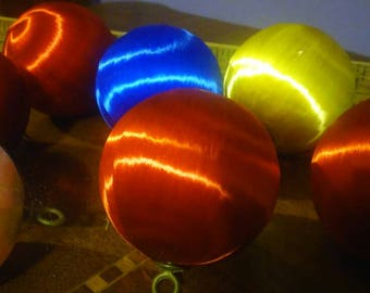 Vintage Satin Ball Ornaments in Red, Blue, White Gold or Yellow