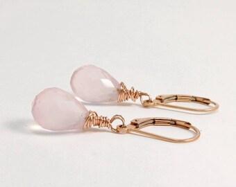 Rose quartz earrings, Rose Gold filled earrings, Pink teardrop earrings, Pink quartz jewelry, Clothing gift for her, Leverback earrings