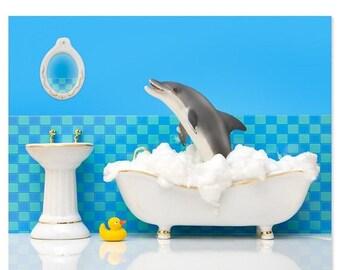 30% OFF SALE Bathroom decor animal art print with dolphin: Splashdown
