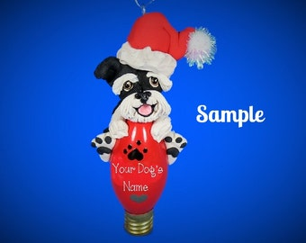 Black and Siver Schnauzer Santa Dog Natural Ears Christmas Light Bulb Ornament Sally's Bits of Clay PERSONALIZED FREE with dog's name