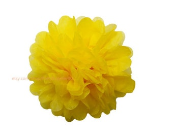 Yellow Tissue Paper Pom Poms * 1 Medium 10 inch Tissue Paper Flowers For Wedding Nursery Shower Party Decoration