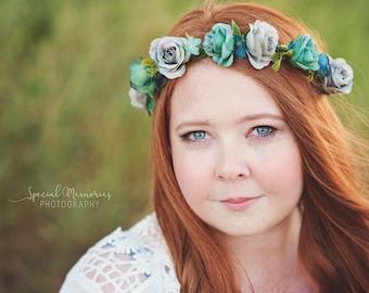 Blue & Teal Rose Flower Crown