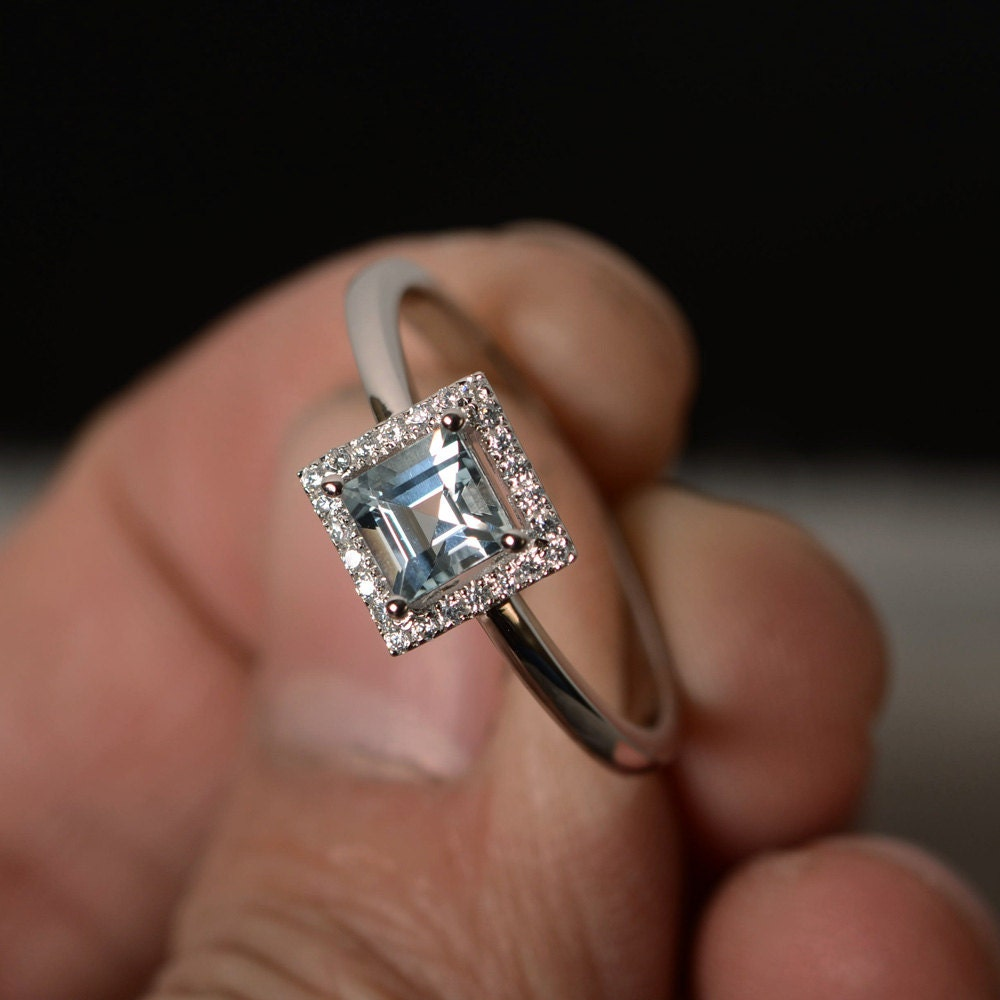 sterling aquamarine cut natural solid products rings s ring jewelry silver hutang gemstone women new engagement princess fine