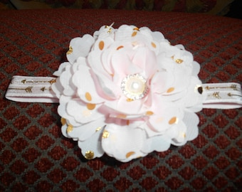 """Baby Toddler Headband handmade Chiffon Pink with Gold dots Flower 13"""" Elastic Stretch OOAK"""