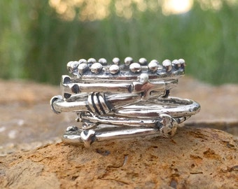 Stackable Rings in Sterling Silver. Stack Ring Set, Silver Stacking Rings. Create your own  ring set! Heart, Cross, Arrow and Infinity Bands