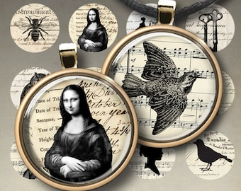 1 inch (25mm) and 1.5 inch size images CHARMING SIMPLICITY Digital Collage Sheets Printable Downloads for pendants bezel cabochon trays