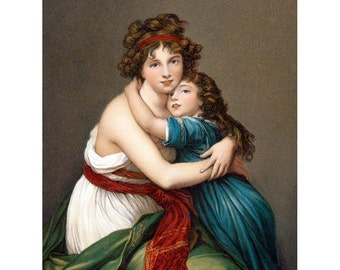 Mothers Day Card - Mother and Daughter Hug - Vintage Style Notecard