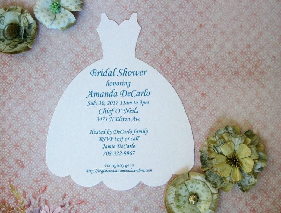 Wedding Dress Invitation Bridal Shower Invite Dress Form