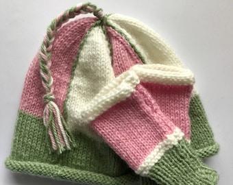 Handknitted Child's Pink, Green and White Beanie Hat and Mitt Set