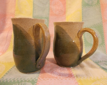 Teal Green speckled stoneware coffee tea or beer mugs or cups