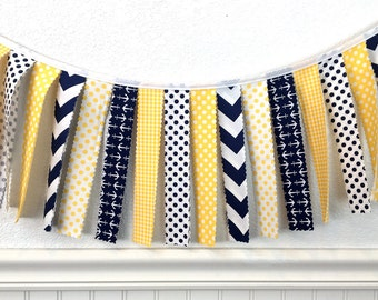 Nautical Garland Banner Bunting Anchor Baby Shower Baby Nursery Decor Wall Decor Wall Hanging Photography Props Yellow Navy Blue Chevron