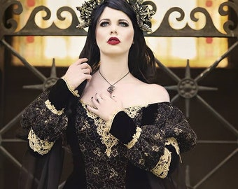 Custom Black and Gold or Silver Gothic Sleeping Beauty Medieval Fantasy or Wedding Gown Your size