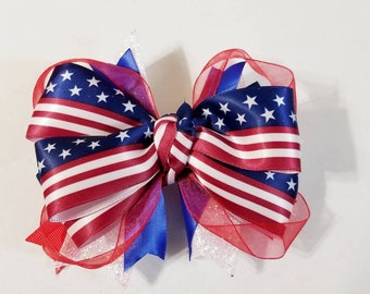 Red, white, and blue patriotic hair bow