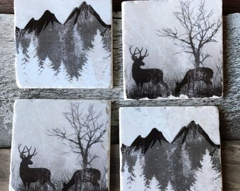 Mountains, Deer, Forest Coasters, Hunting, Cabin, Wildlife, Buck, Doe, Hunter Gift, Nature, Nature Lovers, Boyfriend Gift, Husband Gift