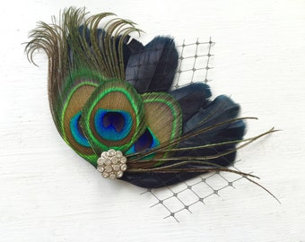 MICHELLE Black and Natural Peacock Feather and Black Veil Hair Clip, Feather Fascinator, Bridal Hair Piece