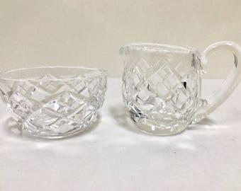 FREE SHIPPING! Vintage Cut Crystal Sugar Bowl & Creamer