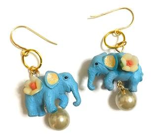 Blue Circus Elephant Gold earrings, Cute, Kawaii, Elephant standing on a Ball, Good Luck, White Pearl, Beaded, Toy earrings
