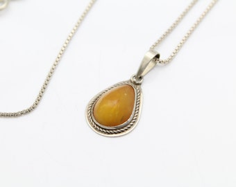 """Handcrafted Pear-Shaped Pendant with Amber in Sterling Silver on 24"""" Chain. [9989]"""