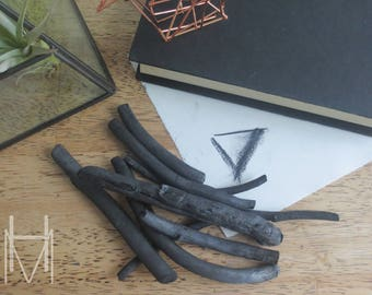 Handcrafted Gifts - Natural Wild Crafted Drawing Charcoal - Gift for Artist- Fine Art Supplies -Black Charcoal - Sketchbook - Eco-Friendly