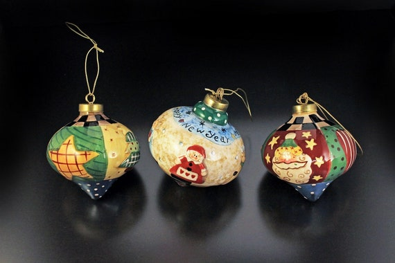 Christmas Ornaments, Lillian Vernon, Onion Shaped, Set of 3, New In Box