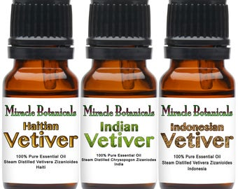 Miracle Botanical Vetiver Trio - 100% Pure Essential Oils of Indian, Haitian, and Indonesian Vetivers...Free US Shipping
