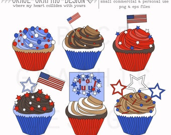 CUPCAKE CLIPART, 4th of July VECTOR cupcake Holiday Clipart set, small commercial use eps, png