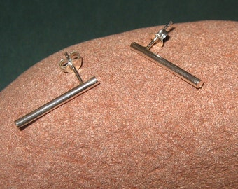 Thick silver rod studs Sterling round bar post earrings