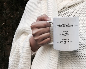 GIFT FOR MOM modern calligraphy coffee mug || perfect gift for new moms expecting first time mom christian mom baby shower mother's day