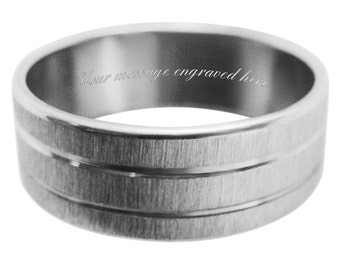 Men's engraved personalised ring size L M N O P Q R S T U V W + gift box -ref TM