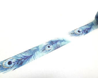 Peacock Washi Tape - Peacock Feathers - Feather Washi Tape, 15mm x 7m