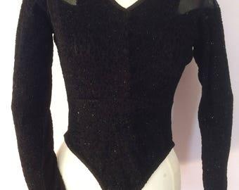 Claudia Chiffon Paris Mesh Black Body Suit