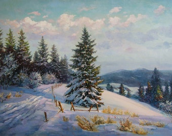 Oil painting Wall Art Canvas Art Wall Decor Original oil painting on canvas Bedroom Decor oil painting landscape painting - Winter evening