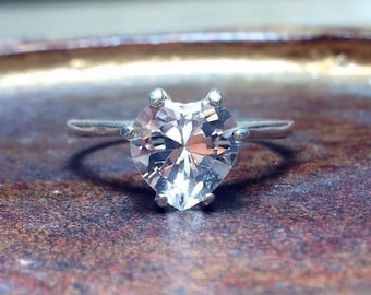 White Sapphire Heart and Silver Ring, Valentines Gift, Engagement Ring, Wedding Ring Set, April Birthstone, Promise Ring
