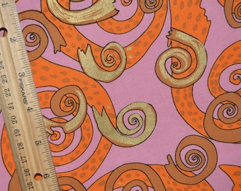 Novelty quilt fabric FreeSpirit mod swirl Bohemian cotton fabric by the yard Terrie Mangat pink orange mod fabric Buddha Party