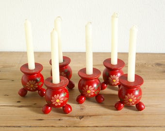 Vintage Swedish old small red candle holders hand painted.Swedish folk art.Red candle sticks pair.Scandinavian Christmas.Swedish Christmas