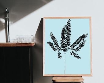 Framed Fern Print, Modern botanicals, Fern poster, framed wall art, framed botanicals, Maidenhair fern, Framed plant art, fern plant art