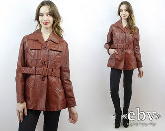 70s Leather Coat Belted Leather Coat 70s Coat 1970s Coat Hippie Coat Hippy Coat Boho Coat Vintage 70s Coat Leather Trench Coat M L